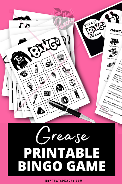 GREASE movie 1950s Bingo party game printable instant download