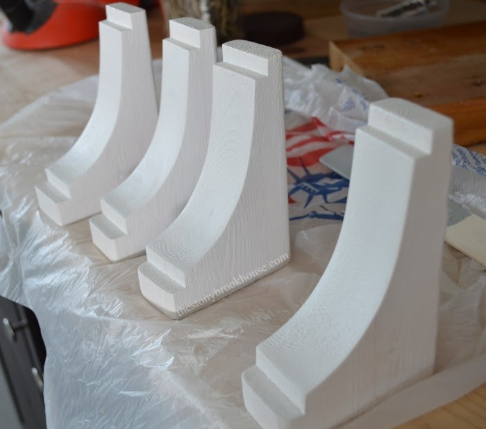 Corbels primed and painted