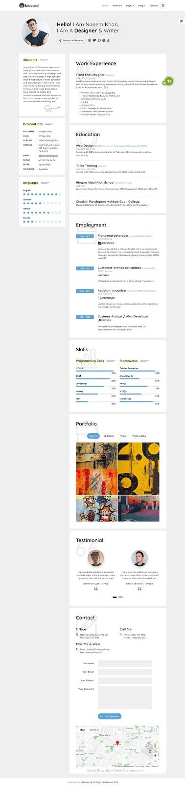 Biocard - Personal / CV / Resume & vCard Template