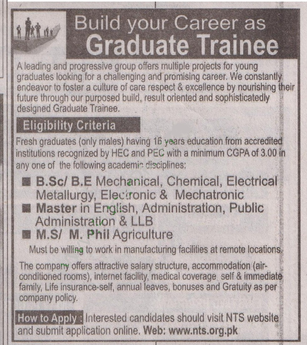 Graduate Trainees Required for a Leading Group of Manufacturing Industries Pakistan via NTS