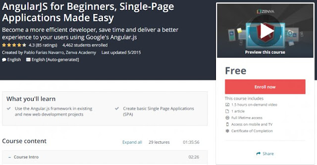 [100% Free] AngularJS for Beginners, Single-Page Applications Made Easy