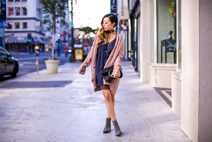 Lucy paris slip dress, slip dress, free people v neck cardigan, hush puppies ankle boots, whiting and davis bag, baublebar choker, fall essential, fall uniform, san francisco fashion blog, san francisco street style