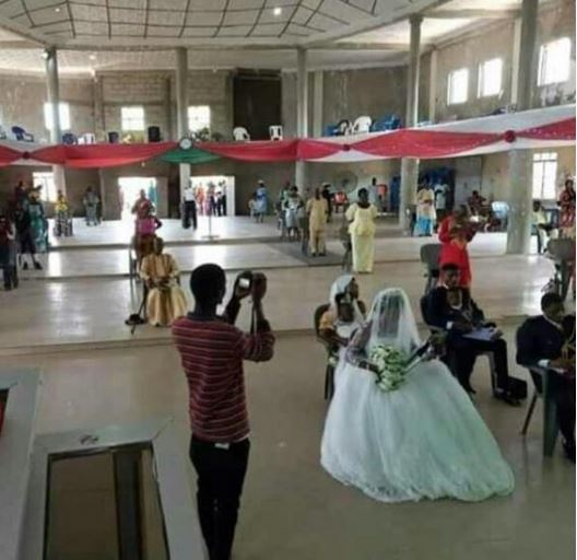 Check Out How A Couple And Guests Observed Social Distancing At Their Wedding In Benue (Photo)