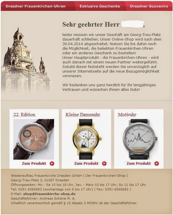 Screenshot Info-Email Schließung Frauenkirchen-Shop