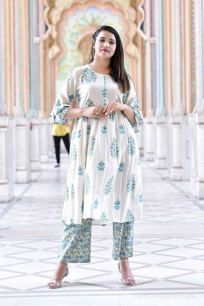 H4U Stylish women pure Cotton Floral Printed Kurta with Pallazo Set