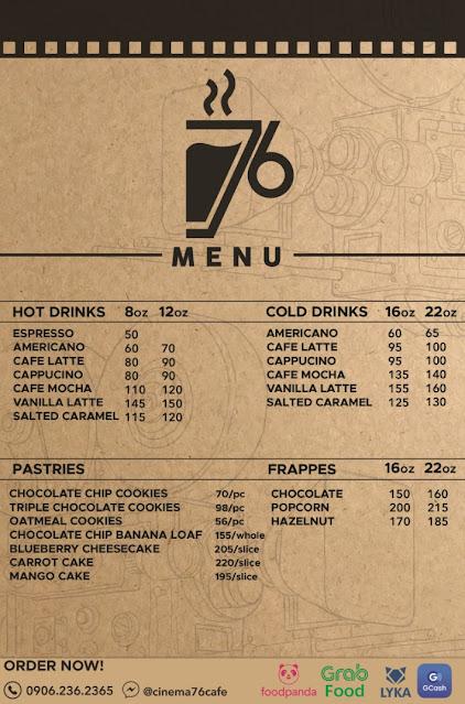 Cinema '76 Cafe Anonas - Food Drink Menu