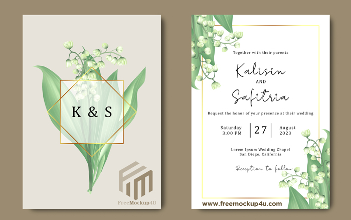 Hand Drawn Wedding Invitation Template With Lily Valley Flower