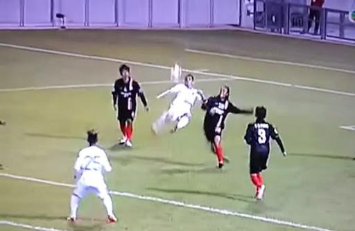 Yangon United striker Milan Jovanović scores with a stunning scissor-kick against Citizen AA