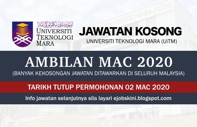 Jawatan Kosong Uitm Mac 2020