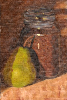 Oil painting of a green pair with a jar of instant coffee.