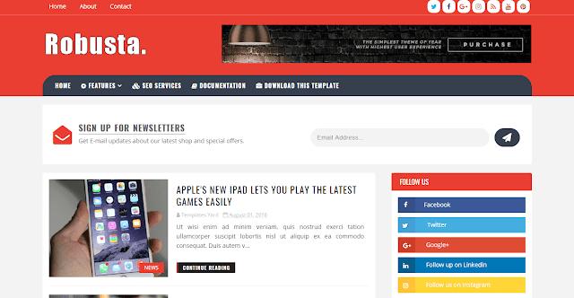 Download Free Premium Robusta Blog Blogger Template