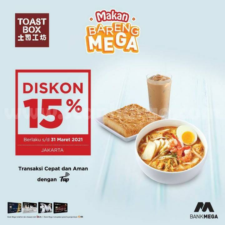 Toast Box Promo Diskon 15% Bareng Bank Mega