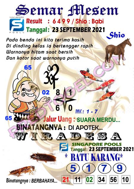 Syair Semar Mesem SGP45 Kamis 23-Sep-2021
