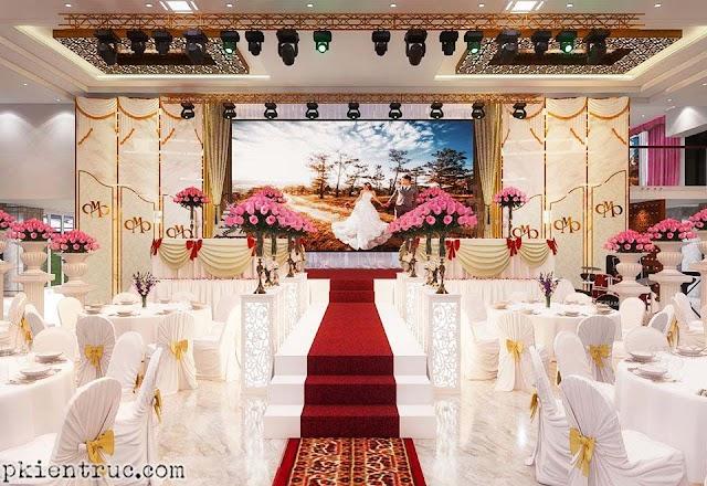 Nội thất trung tâm tiệc cưới sang trọng kèm model su tham khảo