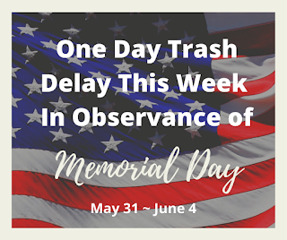 Reminder: Trash/recycling 1 day delay this week