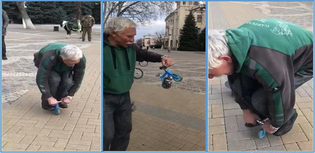 دراجة أصغر من الأرنب، عجوز يقودها بهذه الطريقة