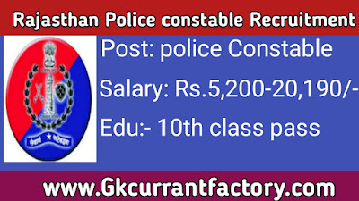 Rajasthan Police constable Recruitment, Rajasthan Police constable Jobs