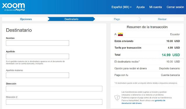 XOOM  Es un servicio oficial de PayPal que te permite crear una cuenta o relacionarla con tu cuenta de PayPal existente, con este servicio puedes enviar dinero a cuentas de los bancos en Ecuador, tarjetas de crédito e incluso pagar recargas de servicio celular.