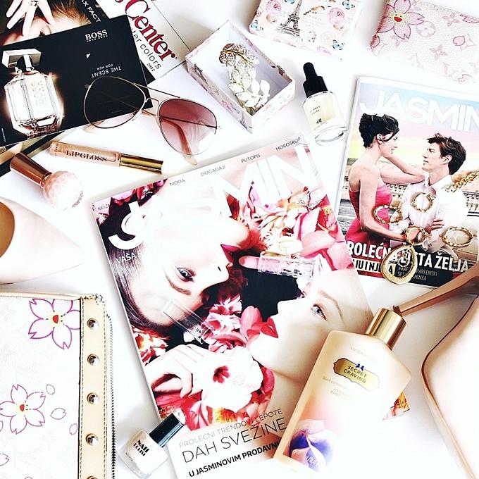 Floral flower theme lifestyle flatlays.Jasmin parfimerije katalog.