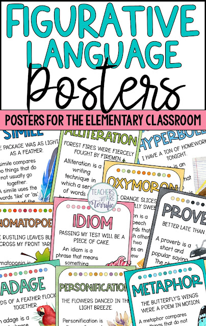 Do you love teaching writing? My favorite part is introducing figurative language techniques! Who doesn't love learning about idioms and hyperbole? Your students will love using these gorgeous posters showing the forms of figurative language they will use the most.