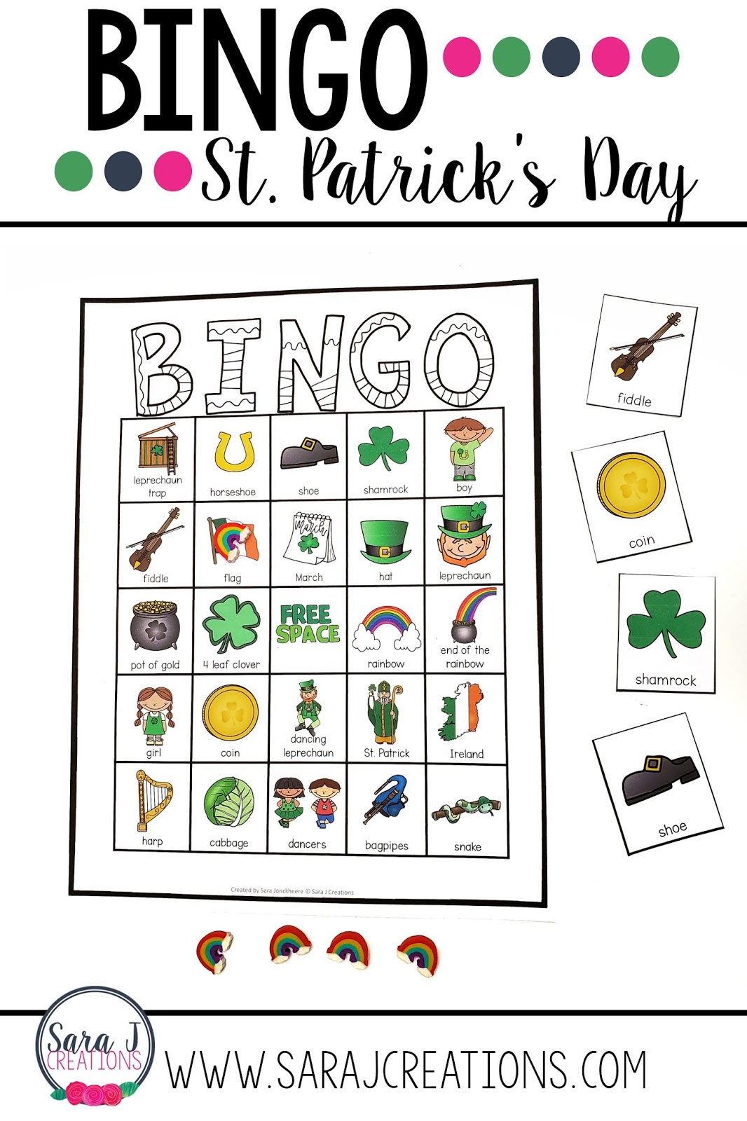 Need a fun activity for your little leprechauns to play on St. Patrick's Day?  Bingo is perfect for that!  With 30 different boards in color and black and white, it is perfect to print and play.