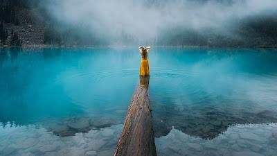 Chica con pelo largo y vestido amarillo sobre un tronco encima de un lago azul