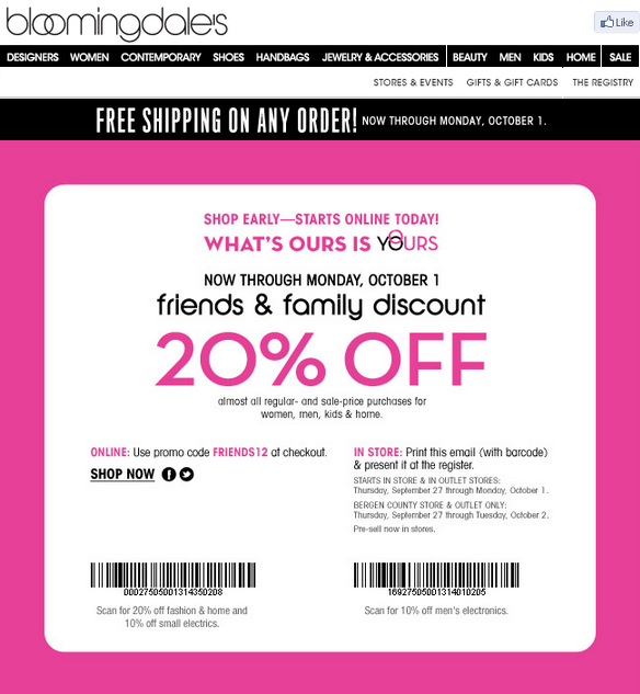 photo about Bloomingdales Printable Coupons named Bloomingdales close friends and household 2018 printable coupon