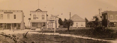 Row of buildings in Stuart when it was a pioneer town