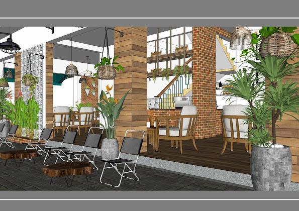 Nội thất quán cà phê vỉa hè phong cách Sài Gòn