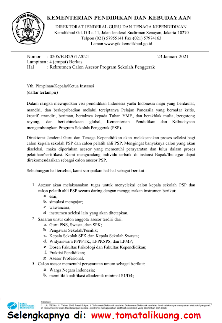 rekrutmen calon asesor program sekolah penggerak tahun 2021 kemendikbud tomatalikuang.com
