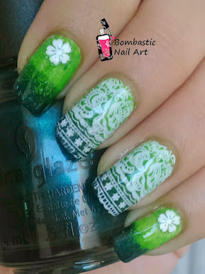 Green White Lace Nail Art