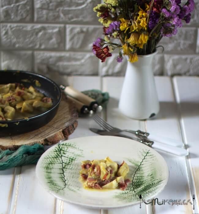 como hacer alcachofas con jamón saludables