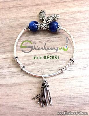 Vòng tay đá quý sapphire kyanite xanh mix bạc Thái 925