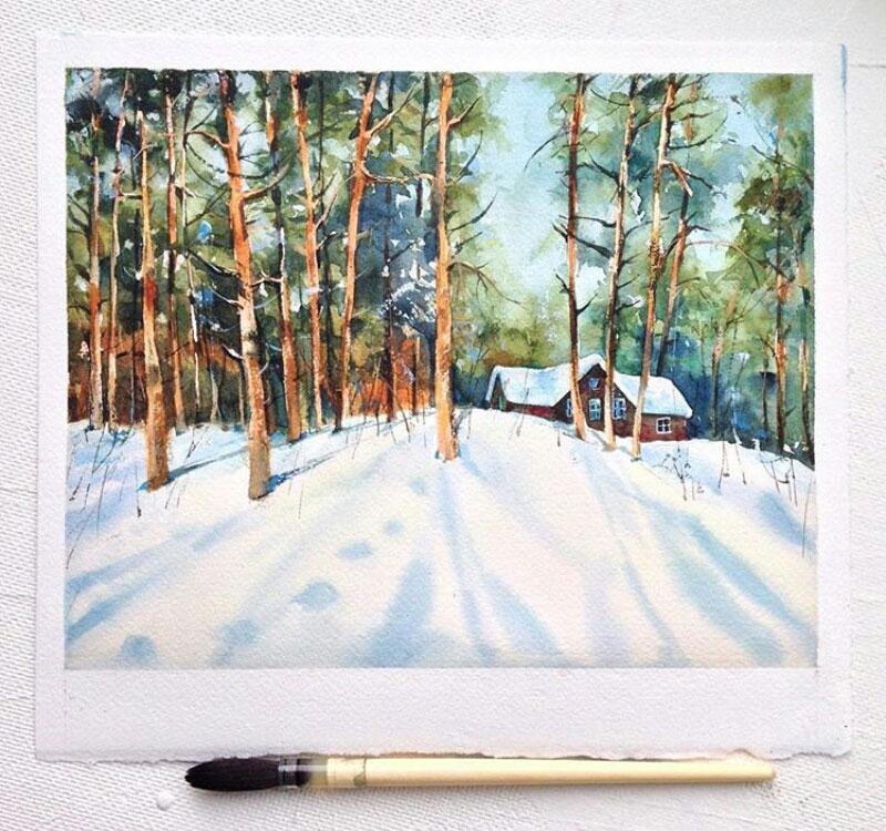 lukisan pemandangan rumah