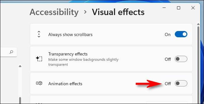 """في إعدادات المؤثرات المرئية ، بدّل """"إظهار أشرطة التمرير دائمًا"""" إلى """"تشغيل""""."""