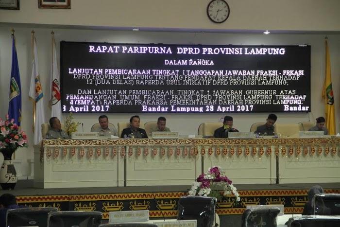Rapat Paripurna DPRD Dan Pemprov Lampung Bahas 12 Raperda Inisiatif