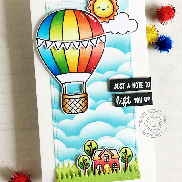 Sunny Studio Stamps: Balloon Rides Slimline Dies Picket Fence Dies Card by Candice Fisher