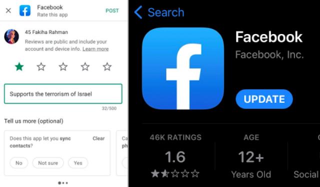 Diserang Warganet karena Batasi Konten Pro-Palestina, Rating Facebook di Play Store