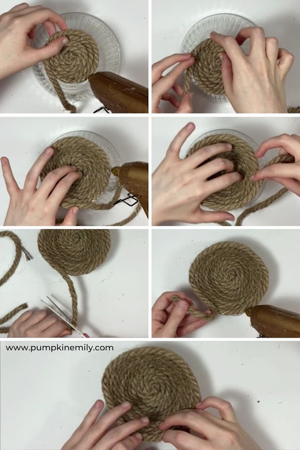 Creating the sides for a rope bowl.