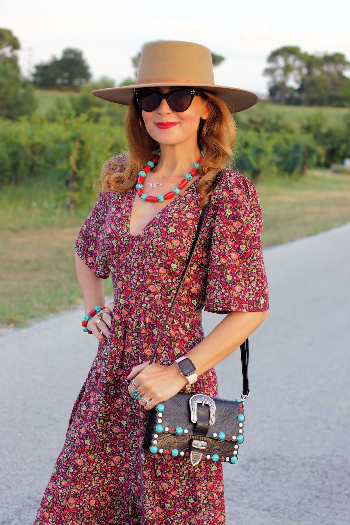 A transitional western style outfit with a ba&sh Paris dress