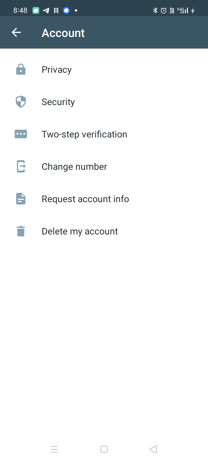 Tap on the Account option