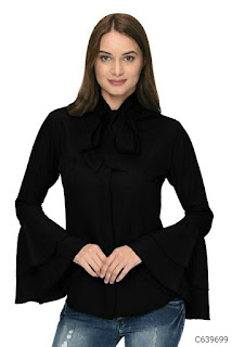 Women's Poly Crepe Tie Knot Formal Shirts