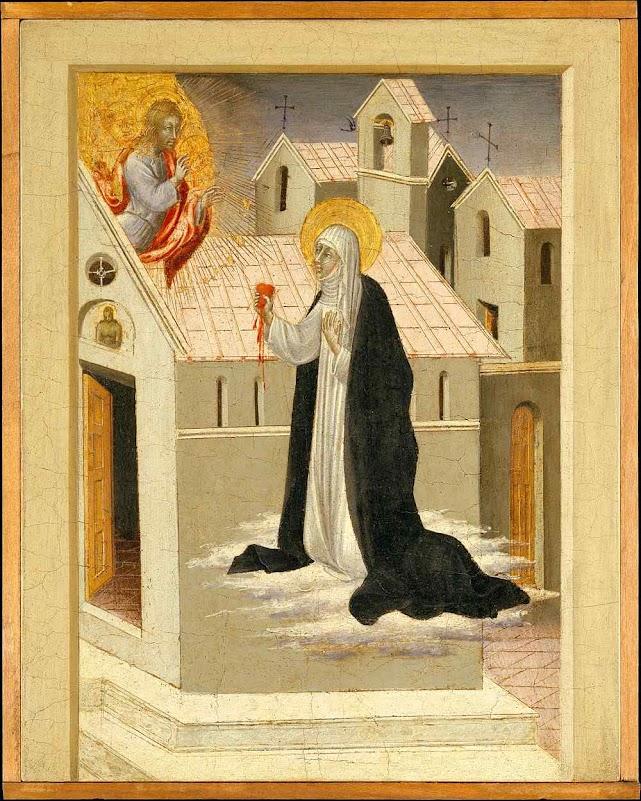 Santa Catarina de Siena trocando seu coração com Cristo, Giovanni di Paolo (1403 — 1482), Metropolitan Museum of Art, New York