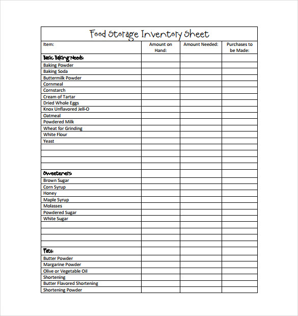 food inventory template in ms excel format excel template