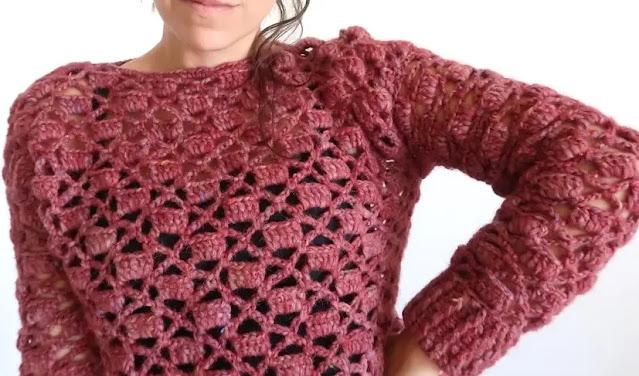 Sweter Punto Calado Tejido a Crochet