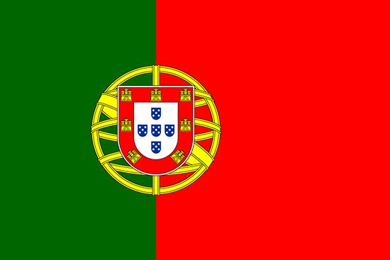 Bandera de Portugal (República Portuguesa) plana vista de frente, vector y JPG