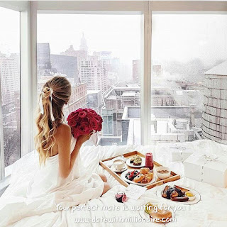 One morning, in a luxury five star hotel, a girl holding flowers
