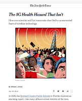 "Screenshot of the start of the article ""The 5G Health Hazard That Isn't"" by William Broad in the New York Times."