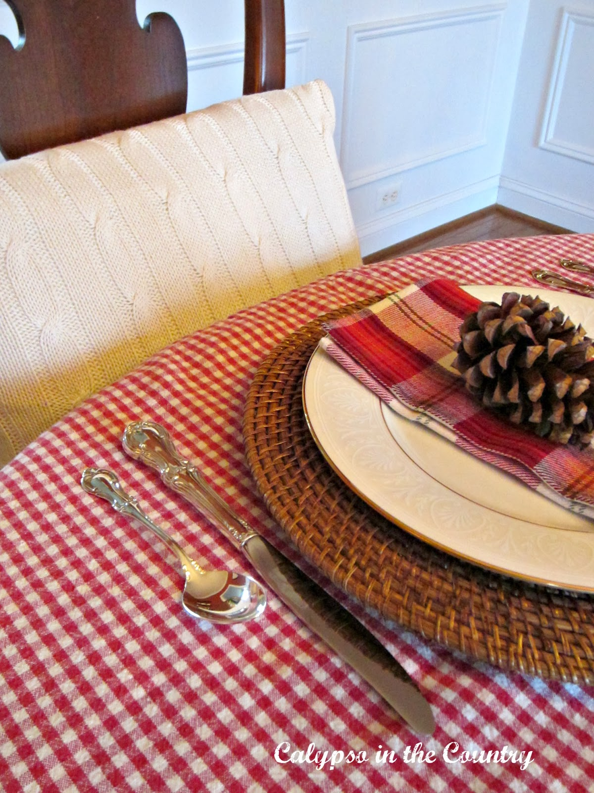 Christmas Place Setting with Checks and Plaid