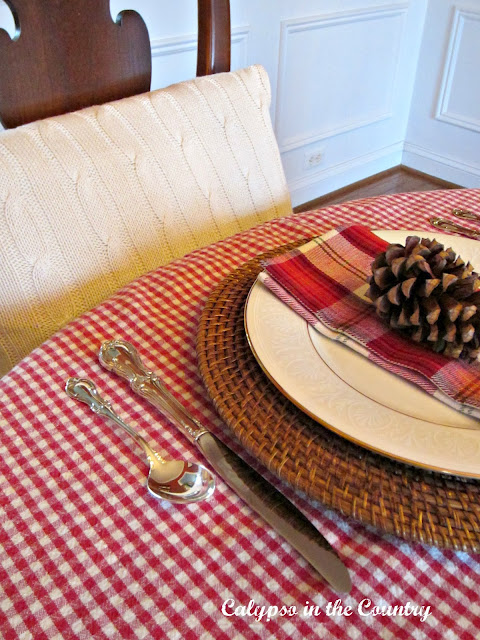 Christmas Place Setting with Checks and Plaid